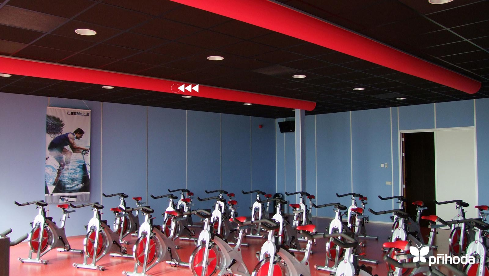cycling gym red fabric ducts